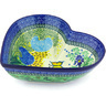 11-inch Stoneware Heart Shaped Bowl - Polmedia Polish Pottery H4370G