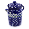 11-inch Stoneware Jar with Lid and Handles - Polmedia Polish Pottery H1211J