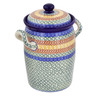 11-inch Stoneware Jar with Lid and Handles - Polmedia Polish Pottery H4338B
