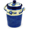11-inch Stoneware Jar with Lid and Handles - Polmedia Polish Pottery H4355D