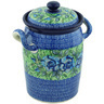 11-inch Stoneware Jar with Lid and Handles - Polmedia Polish Pottery H5083H