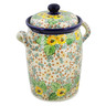 11-inch Stoneware Jar with Lid and Handles - Polmedia Polish Pottery H8259J