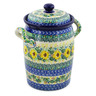 11-inch Stoneware Jar with Lid and Handles - Polmedia Polish Pottery H8260J