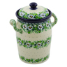 11-inch Stoneware Jar with Lid and Handles - Polmedia Polish Pottery H8262J