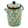 11-inch Stoneware Jar with Lid and Handles - Polmedia Polish Pottery H8266J