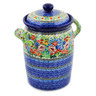 11-inch Stoneware Jar with Lid and Handles - Polmedia Polish Pottery H8271J