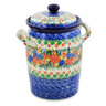 11-inch Stoneware Jar with Lid and Handles - Polmedia Polish Pottery H8273J