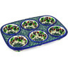 11-inch Stoneware Muffin Pan - Polmedia Polish Pottery H4996D