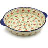 11-inch Stoneware Pie Dish Fluted with Handles - Polmedia Polish Pottery H9475J