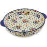 11-inch Stoneware Pie Dish Fluted with Handles - Polmedia Polish Pottery H9507J