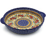 11-inch Stoneware Pie Dish Fluted with Handles - Polmedia Polish Pottery H9648J
