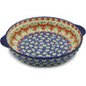 11-inch Stoneware Pie Dish Fluted with Handles - Polmedia Polish Pottery H9736J