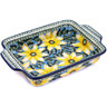 11-inch Stoneware Rectangular Baker with Handles - Polmedia Polish Pottery H8408F