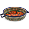 11-inch Stoneware Round Baker with Handles - Polmedia Polish Pottery H0255C
