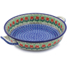 11-inch Stoneware Round Baker with Handles - Polmedia Polish Pottery H0664J