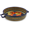 11-inch Stoneware Round Baker with Handles - Polmedia Polish Pottery H1132F