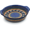 11-inch Stoneware Round Baker with Handles - Polmedia Polish Pottery H2965K