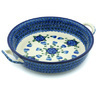 11-inch Stoneware Round Baker with Handles - Polmedia Polish Pottery H4709H