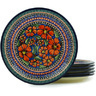 11-inch Stoneware Set of 6 Plates - Polmedia Polish Pottery H7721H