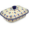 12-inch Stoneware Dish with Cover - Polmedia Polish Pottery H0526E