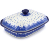 12-inch Stoneware Dish with Cover - Polmedia Polish Pottery H0759J