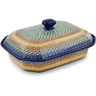 12-inch Stoneware Dish with Cover - Polmedia Polish Pottery H3207B