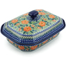 12-inch Stoneware Dish with Cover - Polmedia Polish Pottery H9977A
