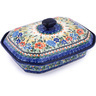 12-inch Stoneware Dish with Cover - Polmedia Polish Pottery H9987F