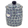12-inch Stoneware Jar with Lid and Handles - Polmedia Polish Pottery H8797L