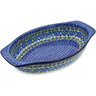 12-inch Stoneware Oval Baker with Handles - Polmedia Polish Pottery H0348B