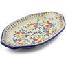 12-inch Stoneware Platter with Handles - Polmedia Polish Pottery H3074J