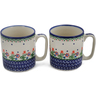 12 oz Stoneware Set of 2 Mugs - Polmedia Polish Pottery H0645L