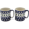 12 oz Stoneware Set of 2 Mugs - Polmedia Polish Pottery H0646L