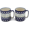 12 oz Stoneware Set of 2 Mugs - Polmedia Polish Pottery H0647L
