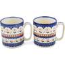 12 oz Stoneware Set of 2 Mugs - Polmedia Polish Pottery H1256L