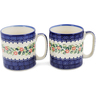 12 oz Stoneware Set of 2 Mugs - Polmedia Polish Pottery H1257L