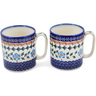 12 oz Stoneware Set of 2 Mugs - Polmedia Polish Pottery H1258L