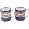 12 oz Stoneware Set of 2 Mugs - Polmedia Polish Pottery H1259L