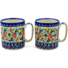 12 oz Stoneware Set of 2 Mugs - Polmedia Polish Pottery H1564K