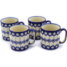 12 oz Stoneware Set of 4 Mugs - Polmedia Polish Pottery H0001K