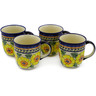 12 oz Stoneware Set of 4 Mugs - Polmedia Polish Pottery H0012K
