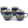 12 oz Stoneware Set of 4 Mugs - Polmedia Polish Pottery H0023K