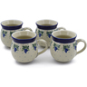12 oz Stoneware Set of 4 Mugs - Polmedia Polish Pottery H0027K