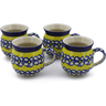 12 oz Stoneware Set of 4 Mugs - Polmedia Polish Pottery H0028K