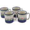 12 oz Stoneware Set of 4 Mugs - Polmedia Polish Pottery H0620L