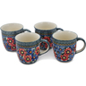 12 oz Stoneware Set of 4 Mugs - Polmedia Polish Pottery H0623L