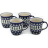 12 oz Stoneware Set of 4 Mugs - Polmedia Polish Pottery H0626L