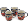 12 oz Stoneware Set of 4 Mugs - Polmedia Polish Pottery H0627L