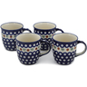 12 oz Stoneware Set of 4 Mugs - Polmedia Polish Pottery H0628L