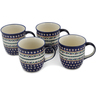 12 oz Stoneware Set of 4 Mugs - Polmedia Polish Pottery H0629L